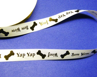 Bones Curling Ribbon 3/4 inch - Dog Speech: Woof. Yap Yap. Bow Wow.