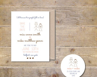 Wedding Save The Dates . Save The Dates . Stick Figure Save The Dates . Wedding Announcement  - Stick Figure Bride & Groom
