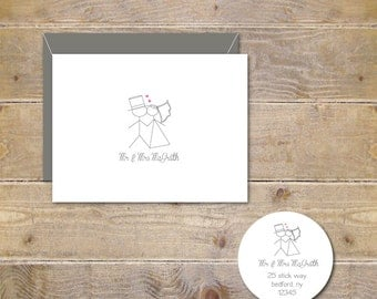 Wedding Thank You Cards Personalized Stick Figure