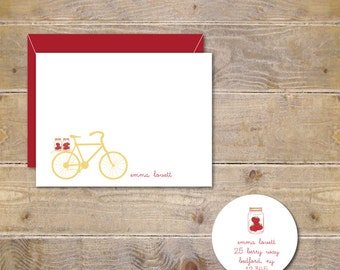 Thank You Cards, Bicycle Cards, Strawberries, Mason Jar Cards, Mason Jar Stationery, Bike, Thank You Cards, Personalized Stationery -Berries