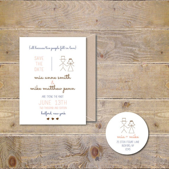 Wedding Save The Dates . Save The Dates . Stick Figure Save