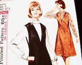 1960s Jumper Dress Pattern Junior Size 9 Womens Blouse with V Neck Jumper Vintage Sewing Pattern