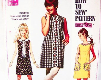 1960s Dress Pattern Misses size 12 Womens Sleeveless A Line Dress Vintage Sewing Pattern Easy to Sew
