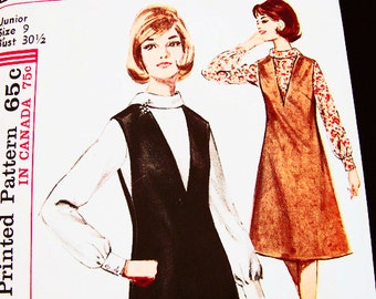 1960s Jumper Dress Pattern Junior Size 9 Womens Blouse with V Neck Jumper Vintage Sewing Pattern