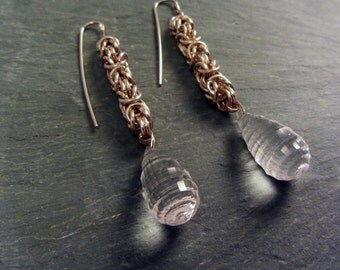 OOAK Chainmaille Sterling Silver Faceted Earrings Quartz Stunning Elegant Chain Maille Chainmail