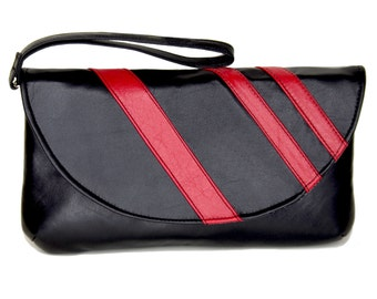 Genuine Black and Red Leather Clutch, Wristlet or Purse With Removable Strap