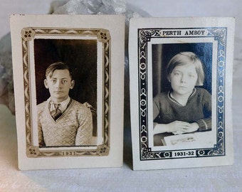 Vintage 1931-1932 Art Deco Class Photo Young Man Teen Girl Decorative Border Black White Sepia Sweaters Portraits Early 20th C Photography