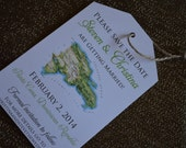 Destination Wedding Invitation Save the Date Luggage Tag Magnet or Cardstock DEPOSIT: Domincian Republic Map Magnet