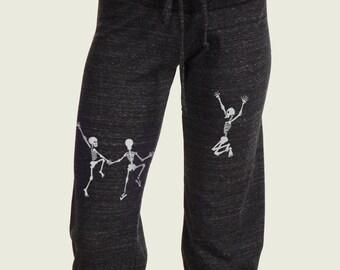 Skeleton crop pants, Yoga pants, Dancing Skeletons Screen Printed Capri Pants Grateful Dead