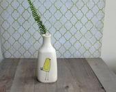RESERVED for LAUREN // Yellow bird vase, bird vase, small bird flower vase, ceramic spring flower garden vase