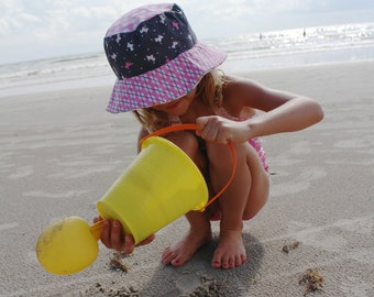 Girl's bucket sun hat, summer sun hat for girls, a great beach hat for kids with sun protection