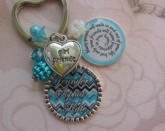 Personalized friendship keychain in turquoise colors, friends keychains, friends gifts, friendship gifts, friendship keychain