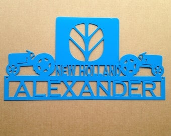 New Holland Tractor Sign with Custom Text Field (I24)