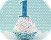 "Fake Cupcake ""1st Birthday 'Boy' Photo Shoot Cupcake Collection"" 1 Standard Cupcake Fab Photo Shoot Prop"