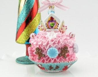 Gingerbread House Christmas Cupcake Ornament. Fake Cupcake w/ Gingerbread House, Gingerbread Men, Candies, Bottle Brush Trees.