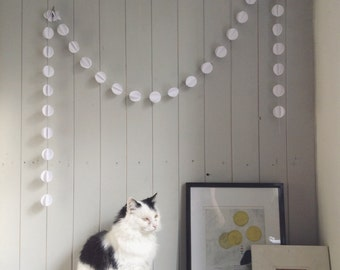 Snowflake 3D Paper Garland - Mini Pom Pom - Choose Your Length and Colour