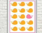 Printable Wrong Way Whale Orange and Pink Nursery Print