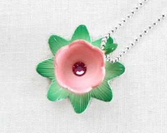 Miniature Flower Teacup Necklace - Blue Bird Teaparty I