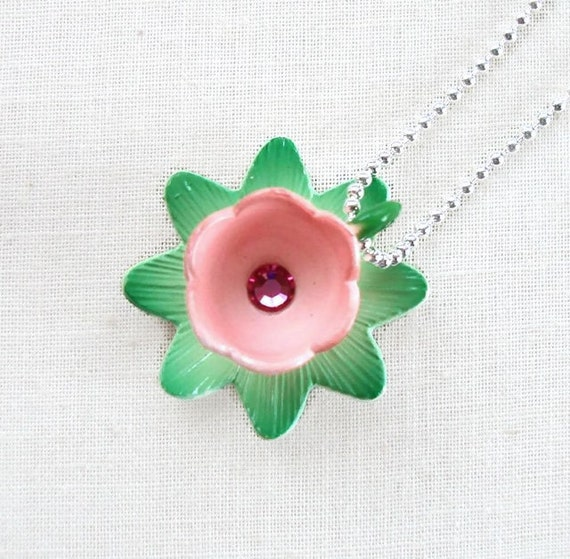Miniature Flower Teacup Necklace - Blue Bird Teaparty I