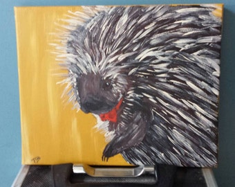 Fancy Porcupine  original 8x10 acrylic painting on canvas