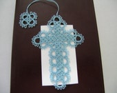 Light Blue Tatted Lace Cross Bible Bookmark