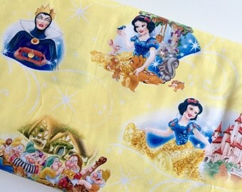 Disney Snow White 7 Dwarves Yellow By The Yard Cotton Woven