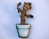 Baby Groot Guardians of the Galaxy Laser Cut Wood Brooch