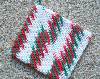 Magic Crochet Pot Holder, Christmas Colors, Trivet, Hot Pad, Single, Cotton Yarn, Multicolor, Red, White, and Green, Made in America