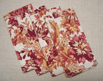 SALE - 25% OFF! Autumn Floral Cotton Cloth Dinner Napkins, Set of 4 Napkins, Eco Friendly, Re-usable Cloth Napkins, Ready to Ship