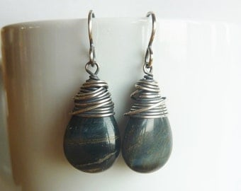 Blue Tigers Eye Teardrops wrapped Silver Filled Wire
