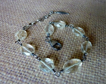 Faceted Citrine Wire Wrapped Silver Bracelet
