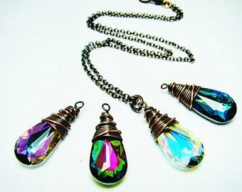 Wire wrapped Swarovski Teardrop Pendant Necklace-- You choose your color of Swarovski Crystal