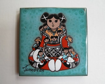 Items similar to native american tile coaster trivet for Native american tile designs