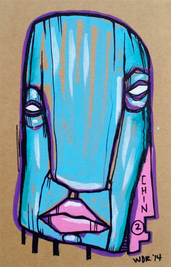Chin 2 - Original Illustration on Cardboard