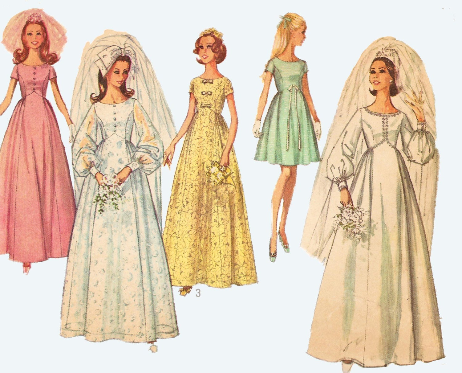 1969 1970s style wedding dress pattern uncut for 1970 s style wedding dresses