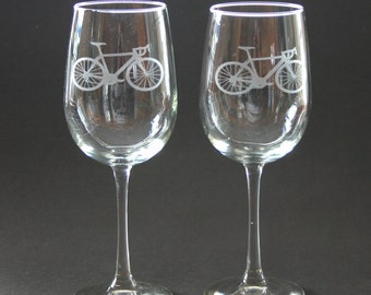 Cycling Etched Wine Glasses Engraved Bicycle Wine Glasses