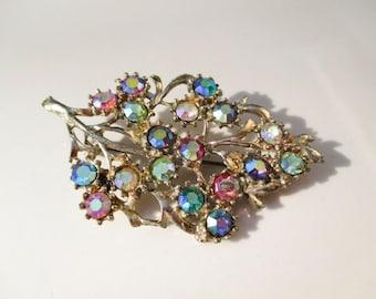 Vintage Aurora Borealis Stone Leaf Brooch Antiqued Gold