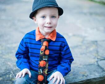 Basketball Necktie Boys, Baby, Toddler Orange, black Velcro Closure