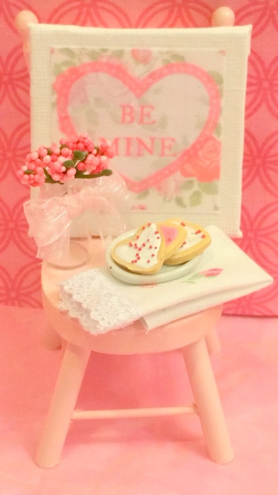 Miniature Valentine's Canvas with Chair, Flowers, Towel and Cookies (1:12 scale)