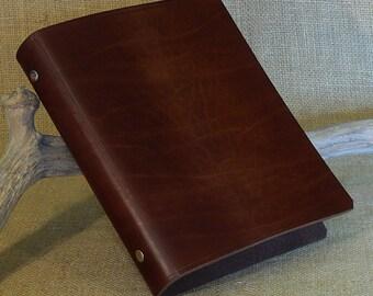 Classic Dark Brown Leather 6 Ring Binder, A5 Organizer (Filofax Compatible)