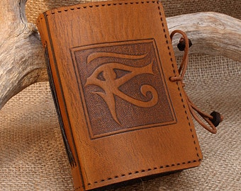 A7, Mini, Leather Bound Journal, Egyptian, Eye of Horus Journal, Brown Leather, Leather Notebook, Pocket Notebook, Personalised, Mini BOS.