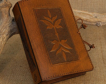 A6, Standard, Leather Bound Journal, Art Nouveau Leaf, Leaf Journal, Brown Leather, Leather Notebook, Guestbook, Blank Book, Personalized.