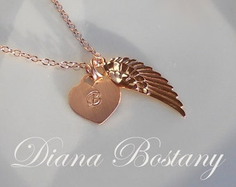 Angel Wing Necklace, Rose Gold Charm, Initial Heart, Personalized Heart,  Memorial Necklace, Keepsake Jewelry, Mothers, Gift