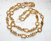Modern Atomic Crown Trifari Gold Necklace Chain 34 inch