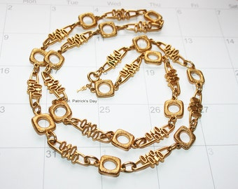 Modern Atomic Crown Trifari Gold Necklace Chain 34 inch