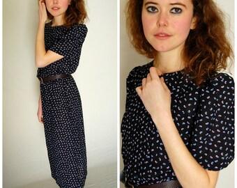 Paisley Dress Vintage 80s Sheer Black Draped Paisley Boho Indie Secretary Dress  (s m)