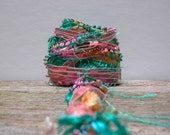sweet surrender fiber effects™  art yarn bundle 12yds  specialty ribbon embellishment pack . teal melon pink