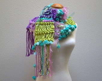 vivid dreams. chunky knit scarf . bright colorful quirky handknit winter scarf . purple aqua pink mint neon yellow-green