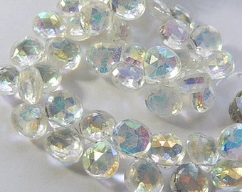 MYSTIC CRYSTAL Gemstone, Faceted Heart Briolette. 10-11mm.  Semi Precious Gemstone. Packet of 2. (0qzm) SALE - Reduced from 6.30