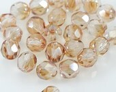 CLOSING SALE Celsian Crystal Czech Firepolished Glass 6mm Faceted Round bead - 100  (ST053-25)